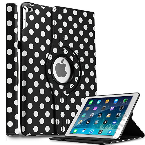 Hhi Multi Angle 360 Stand Case For Ipad Air 2 - Black Polka Dots (Package Include A Handhelditems Sketch Stylus Pen)