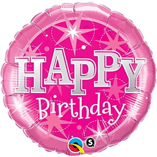 "18"" Pink Sparkle Happy Birthday Mylar Balloon"