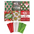 Jillson Roberts Christmas Medium Gift Bags in Assorted Designs with Tissue, Holiday Trends (XTMT004)