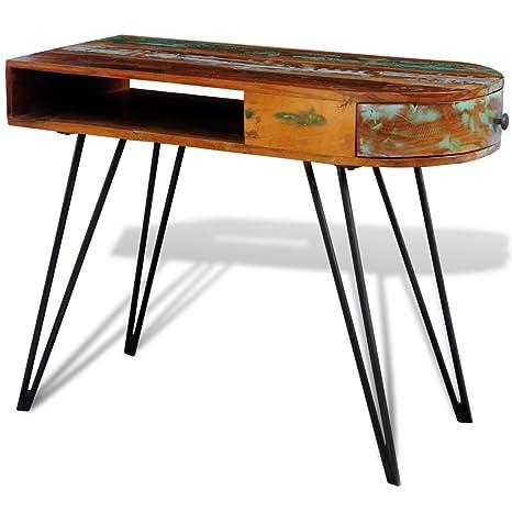 Anself 97 x 45 x 76 cm Table de Bureau en Bois Recyclé