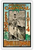1914 Mid-Pacific Carnival - Honolulu Hawaii - Featuring Duke Kahanamoku, Champion Swimmer of the World - Vintage Carnival Poster by Lew Henderson, Ned Steel c.1914 - Hawaiian Master Art Print - 12 x 18in