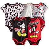 Disney Baby-Boys Newborn Boy Mickey 5 Pack Bodysuit, Red, 6-9 Months
