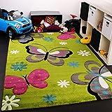 Kinder Teppich Schmetterling Design Grün Creme Rot Pink, Grösse:120x170 cm
