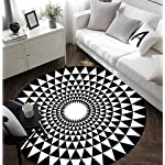 Classical Black and White Round Rugs,Nordic Simple Fashion Round Non-slip Mat Balcony Living Room Coffee Bedroom Table Carpet ( Color : Black , Size : 120120cm )