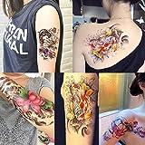 Kotbs 4 Sheet Pack Temporary Tattoos for Women Arm Body Tattoo Sticker Geisha, Lotus, Koi Fish, Fake Tattoo