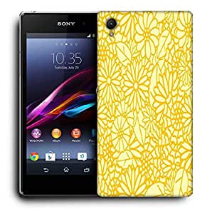 Snoogg Abstract Yellow Floral Printed Protective Phone Back Case Cover For Sony Xperia Z2