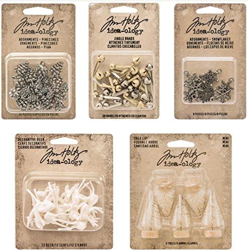 Tim Holtz 2016 Christmas - Pinecones, Snowflakes, Woodland Mini Tree Lot, Decorative Deer & Jingle Brads idea-ology Bundle
