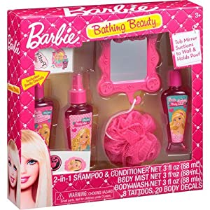 Barbie Bathing Beauty Set Includes Shampoo & Conditioner and Body Mist and Body Wash Plus Mirror