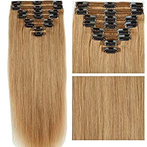 Thick Full Head Double Weft Remy Human Hair Black 8 Pieces 18 Clips Long Straight Clip in Extensions For Women #27 Dark Blonde(20 inch 150g)