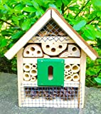 Beneficial Insect House - Rustic Look Habitat with Natural Wood & Moss - Beneficial House for Pollination (Small)