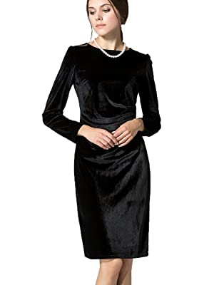 K&S Women's Gold Velvet Long Sleeve Slim Fit Pleated Round Neckline Dress (S, Black)