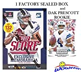 2017 Score NFL Football EXCLUSIVE Factory Sealed Retail Box with 132 Cards & SPECIAL MEMORABILIA Card Plus BONUS 2016 DAK PRESCOTT ROOKIE! Includes 20+ INSERT & 30+ RC Cards of Top NFL Picks! WOWZZER!