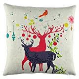 Elyhome 18x18 Inches Christmas Holiday Decorations Cotton Linen Throw Pillow Cover Cute Little Reindeer Couple