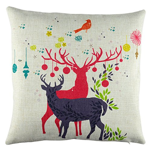 Purchase Elyhome 18×18 inches Cute Little Reindeer Couple Christmas Holiday Theme Cotton Linen Decorative Square Cushion Throw Pillow Cover