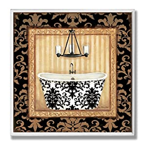 Stupell Home Decor Collection Black Veranda Tub Bathroom Wall Plaque