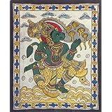 "Dolls Of India ""Hanuman Carrying Gandhamadan Parvat"" Kalamkari Paintings On Cotton - Unframed (55.88 X 45.72 Centimeters..."