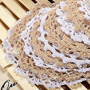 Surepromise 24pcs Vintage Lace Crochet Motifs Mini Doilies 5-19cm White Beige Decoration