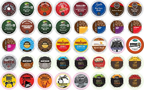 40-count K-cup for Keurig Brewers All REGULAR Coffee Variety Pack Featuring Tim Horton's, Green Mountain, Coffee People, Broolyn Bean, Newman's Organic, Donut House, Caza Trail, Emerils, Barnie's Coffee Kitchen, Hurricane, Guy Fieri, Brown Gold, Martinson, Marley Coffee, Brooklyn Bean, Java Factory, Authentic Donut Shop & Tully's (Keurig Coffee Regular compare prices)