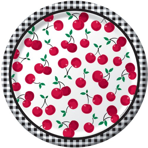 Creative Converting Cherry Gingham Round Dinner Plates, 8 Count