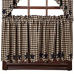 Black Star Scalloped 24 Inch Curtain Tiers by Victorian Heart Company