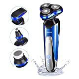 (Updated Version) Electric Shaver for Men, Homeasy Men Electric Razor Rotary Beard Trimmer Nose Hair Trimmer Face Cleaning Brush Waterproof Wet and Dry 4 In 1 Shaving Machine USB Charged (Color: Blue (Updated Version))