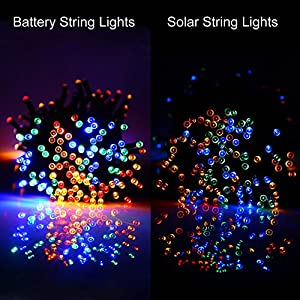 [Rechargeable Battery Included]Battery Operated Christmas String Lights with Timer,easyDecor 200 LED 72ft Multi-color 8Mode Waterproof Decorative Fairy light for Halloween,Outdoor,Indoor,Party,Tree