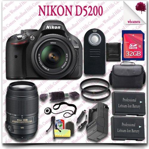 Nikon D5200 Digital Slr Camera With 18-55Mm Af-S Dx Vr (Black) + Nikon 55-300Mm Af-S Dx Vr Lens (Refurbished) + 32Gb Sdhc Class 10 Card + Slr Gadget Bag + Wireless Remote 17Pc Nikon Saver Bundle