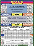 2014 U.S.A. Calendar With Moon Phase Table