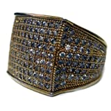 Mens Full of Faux Diamonds - 24K Gold Plated Rectangle of Ice HipHop Bling Ring
