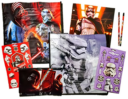 [7 item LIMITED Disney Star Wars Bundle Exclusive [First Order pencil pouch, 2-pocket File Folder, 13 stickers, 2 pencils, 2 Recyclable Tote bags (Troop Leader & Snow] (Star Wars The Force Unleashed 2 Darth Vader Costume Cheat Xbox)