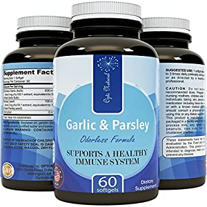 Odorless Garlic Pills for Weight Loss with Allicin - Contains Parsley Seed Extract & Chlorophyll -Powerful Antioxidants - Anti-Aging Formula - Increase Immunity with Vitamin C for Women and Men