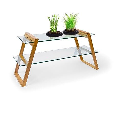 Relaxdays 10019027 - Mesa de centro, 65 x 130 x 46 cm, bambú y cristal