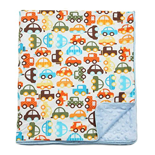 "My Blankee Cars Organic Cotton White w/ Minky Dot Blue Baby Blanket, 30"" X 35"""