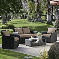Delphi All Weather Chocolate Wicker Conversation Set by Terrace Living Company LLC
