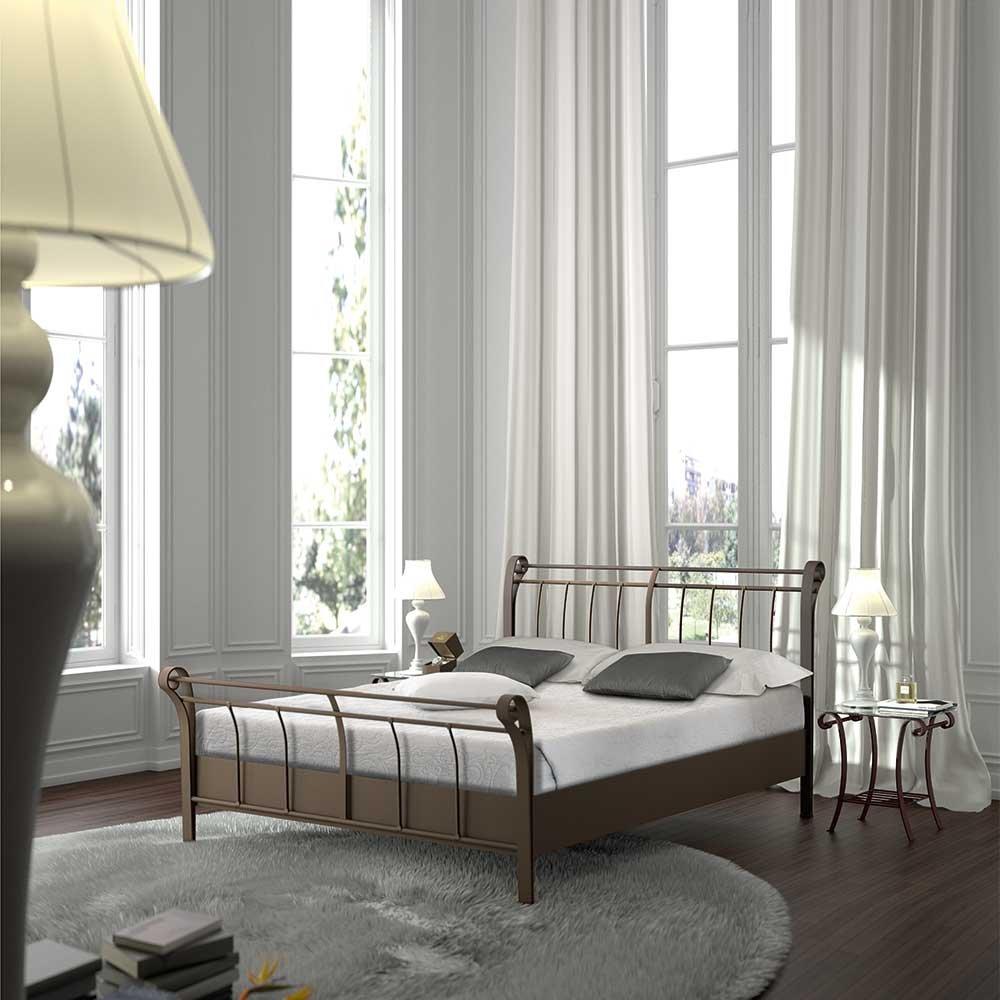 Bett aus Metall Braun Breite 148 cm Liegefläche 140×200 Pharao24 günstig bestellen