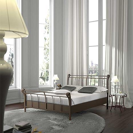 Bett aus Metall Braun Breite 148 cm Liegefläche 140x200 Pharao24