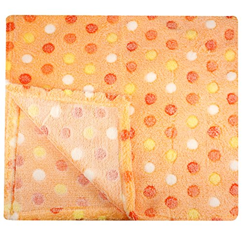30x30 Inch Plush Fleece Baby Blanket - Assorted Colors Polka Dot Blankets by bogo Brands (Orange)