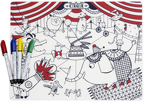 modern-twist Kids Mark-Mat Silicone Coloring Placemat with 4 Dry-Erase Markers, Circus