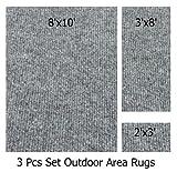 Indoor-Outdoor Misty, 3 Piece Set, Patio Rug's (8x10 Area Rug, 3x8 Runner, 2x3 Mat)