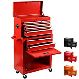 Tool Box Removable Tool Chest Top & Bottom 2 in 1 Rolling Tool Box Organizer Top Tray W/Locking System Portable Tool Storage Cabinet W/Wheels (Red) (Color: Red)