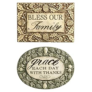Grasslands Road Indian Summer bless Our Family and grace Each Day with Thanks Message Plaques Two Styles, Set of 2