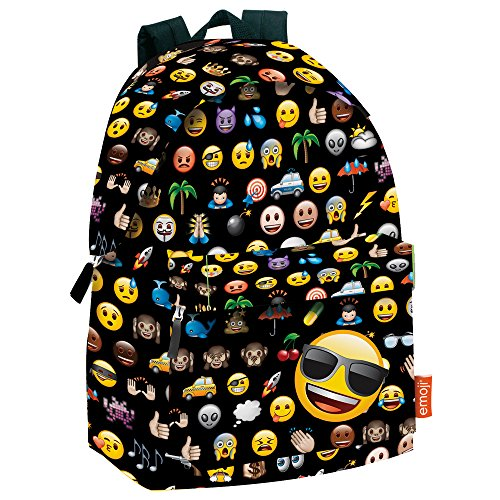Montichelvo Emoticonos Mochila Adaptable, Color Negro