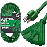 Kasonic 50 Ft Extension Cord with 3 Outlets, UL Listed; 16/3 SJTW; 3-Wire Grounded; 13A 125V 1625W; for Indoor/Outdoor Use - Green (Color: 50 Feet)
