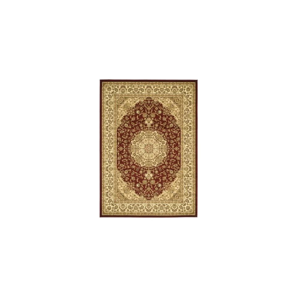 Safavieh Lyndhurst Collection LNH222B Traditional Oriental Medallion Red and Ivory Round Area Rug (53 Diameter)