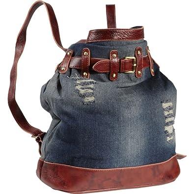 Amerileather 'Damian' Denim And Leather Shoulder Bag 117