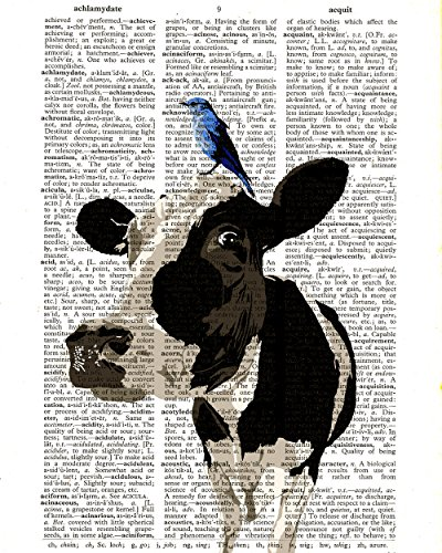 cow-and-blue-bird-dictionary-print-friesian-cow-farm-animal-illustration-vintage-upcycled-dictionary