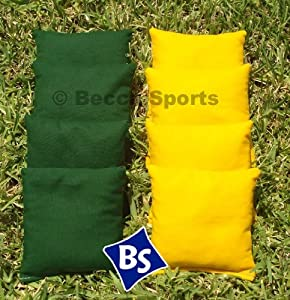 Cornhole Bags Set - 4 Yellow & 4 Hunter Green