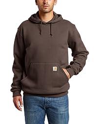 Carhartt Men\'s Big & Tall Midweight Sweatshirt Hooded Pullover Original Fit,Dark Brown,XXXX-Large