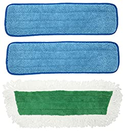 Xanitize Microfiber Mop Pads Wet, Dry, Dust Washable Commercial Refills - Includes Loop Dry Dust Mop (2-blue 1-green)