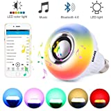 KAILAKE LED Wireless Light Bulb Speaker-RGB Sm Music 2018 New Design Instagram 5000+Likes with Stereo Audio Smart 7W E27 Changing Lam Lamp+24 Keys Remote Control (Color: White)